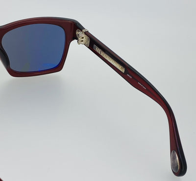 Ann Demeulemeester Sunglasses D-Frame Bordeaux Red 925 Silver with Blue Lenses AD3C3SUN - Watches & Crystals