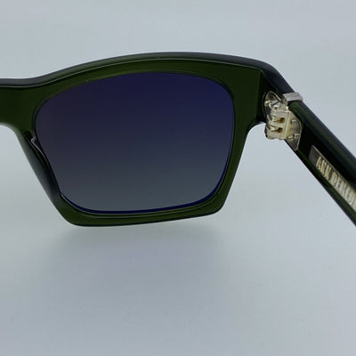 Ann Demeulemeester Sunglasses D-Frame Green 925 Silver with Green Lenses Category 3 Dark Tint AD3C7SUN - Watches & Crystals