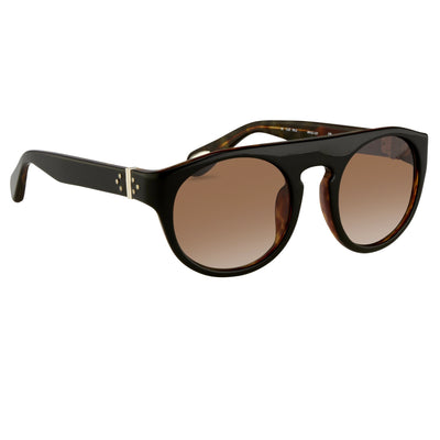 Ann Demeulemeester Sunglasses Flat Top Black & Tortoise Shell 925 Silver with Brown Graduated Lenses Category 3 AD10C6SUN - Watches & Crystals
