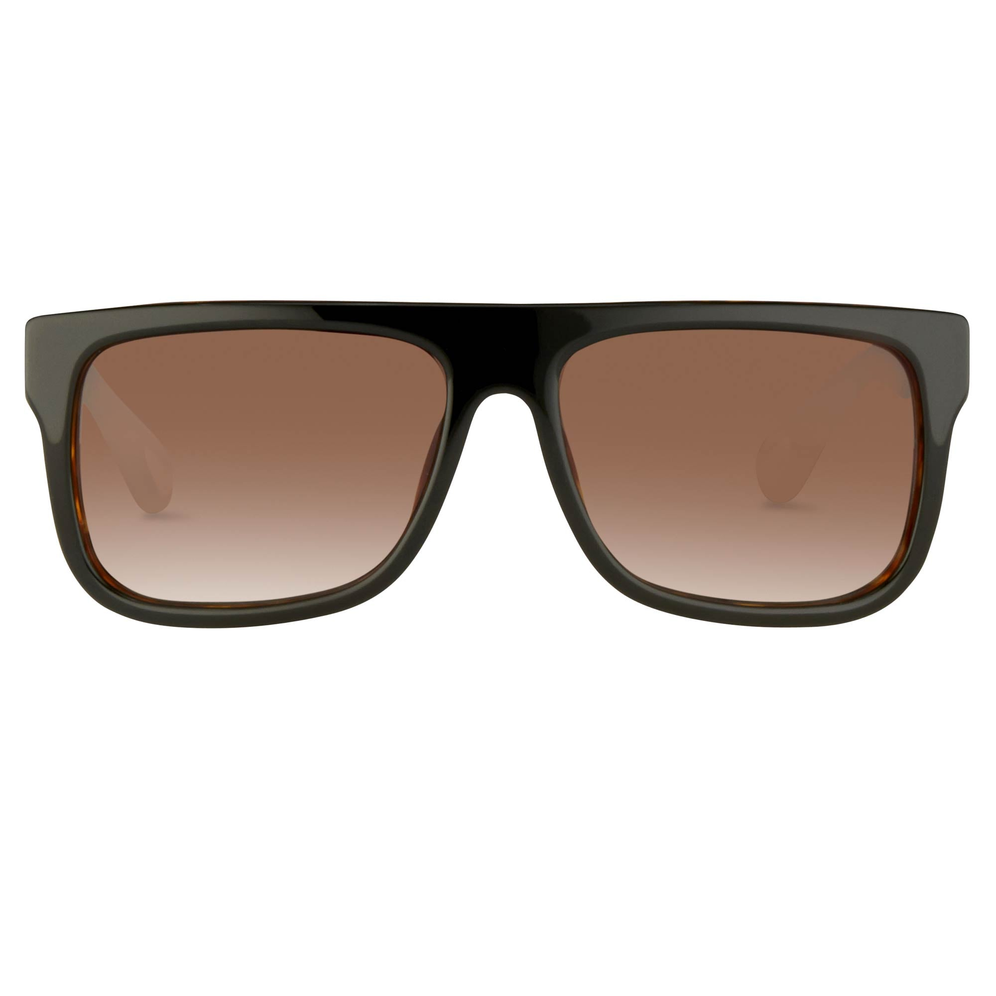 Ann Demeulemeester Sunglasses Flat Top Black Tortoise Shell 925 Silver with Brown Lenses AD2C6SUN - Watches & Crystals