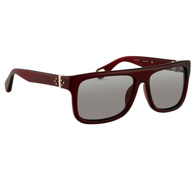 Ann Demeulemeester Sunglasses Flat Top Bordeaux Red 925 Silver with Blue Lenses AD2C3SUN - Watches & Crystals