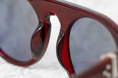 Ann Demeulemeester Sunglasses Flat Top Bordeaux Red 925 Silver with Blue Lenses Category 2 AD10C3SUN - Watches & Crystals
