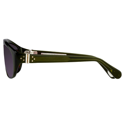 Ann Demeulemeester Sunglasses Flat Top Green 925 Silver with Purple Lenses Category 3 Dark Tint AD1C7SUN - Watches & Crystals