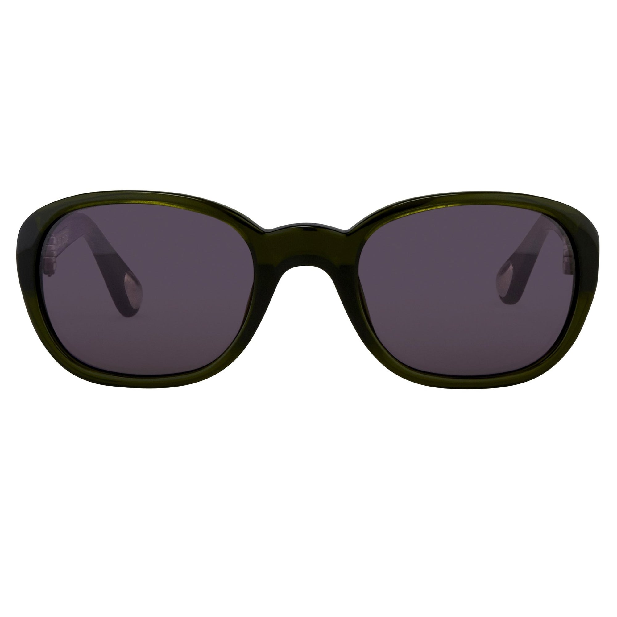 Ann Demeulemeester Sunglasses Oval Green 925 Silver with Purple Lenses Category 3 AD8C7SUN - Watches & Crystals