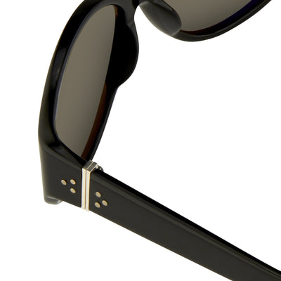 Ann Demeulemeester Sunglasses Oversized Black 925 Silver with Grey Lenses CAT3 AD6C1SUN - Watches & Crystals