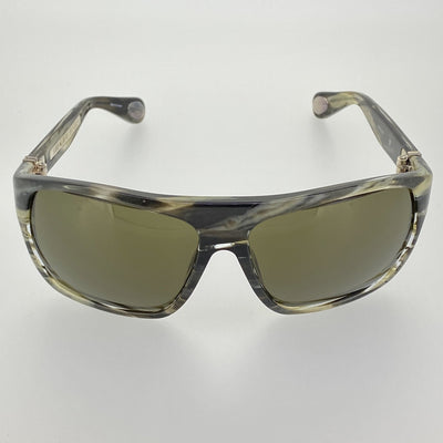 Ann Demeulemeester Sunglasses Oversized Brown Horn 925 Silver with Green Lenses CAT3 AD31C3SUN - Watches & Crystals