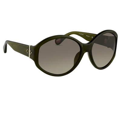 Ann Demeulemeester Sunglasses Oversized Green 925 Silver with Green Graduated Lenses CAT3 AD6C7SUN - Watches & Crystals