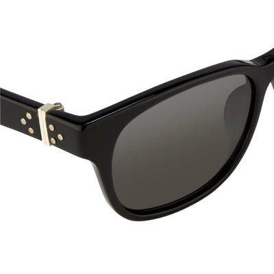 Ann Demeulemeester Sunglasses Rectangular Black 925 Silver with Grey Lenses AD15C6SUN - Watches & Crystals