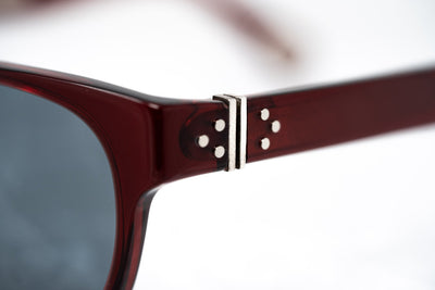 Ann Demeulemeester Sunglasses Rectangular Bordeaux Red 925 Silver with Blue Lenses AD15C8SUN - Watches & Crystals