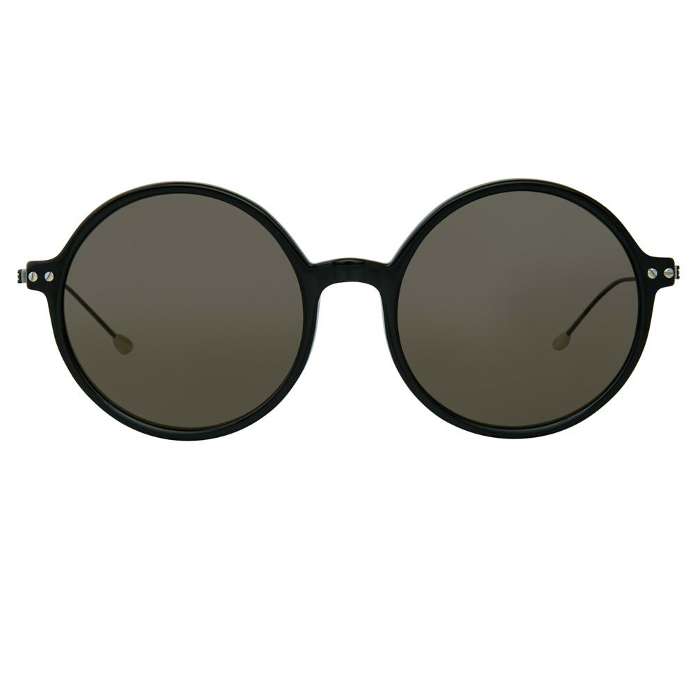 Ann Demeulemeester Sunglasses Round Shiny Black 925 Silver with Grey Lenses CAT3 AD54C1SUN - Watches & Crystals