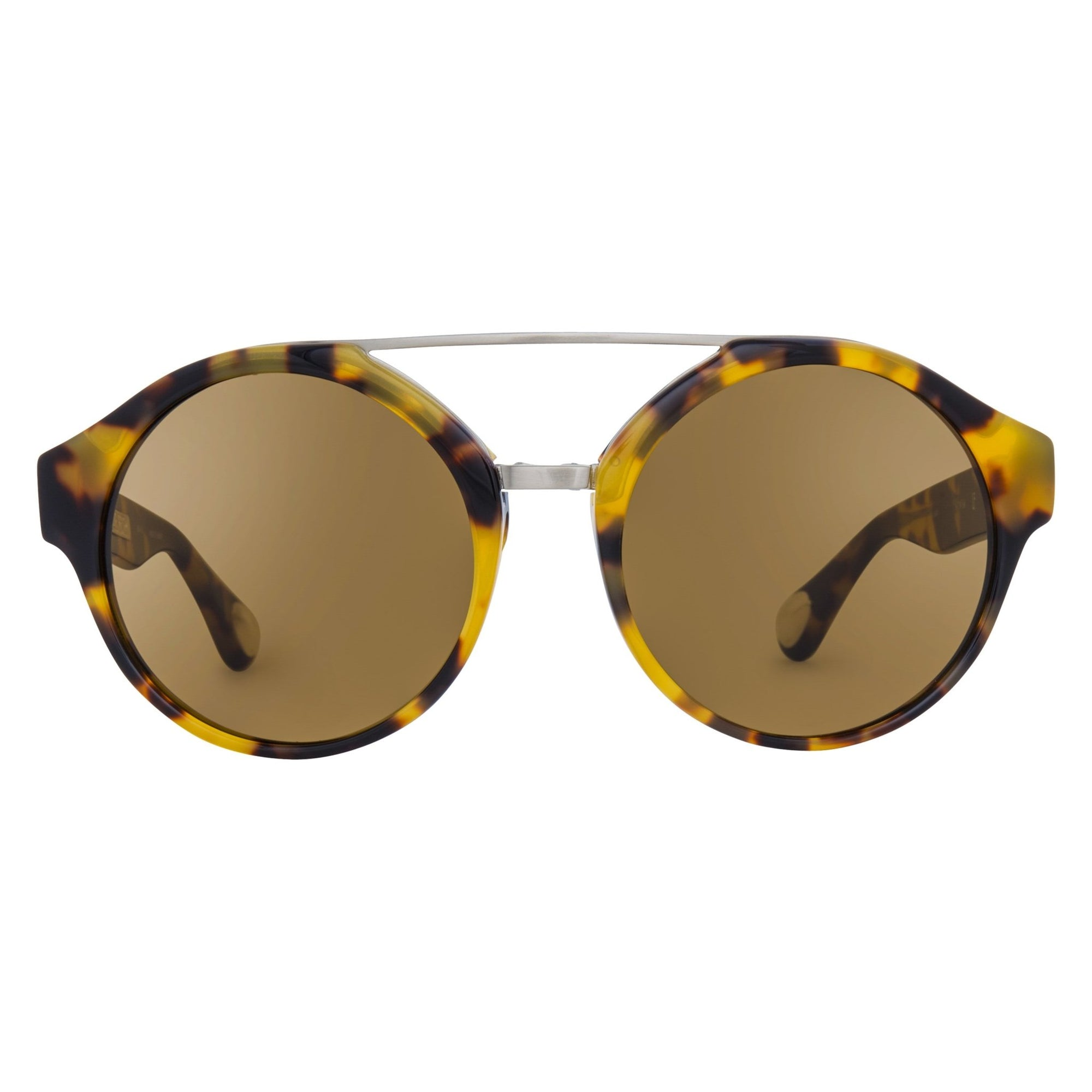 Ann Demeulemeester Sunglasses Round Tortoise Shell Titanium 925 Silver with Brown Lenses CAT3 AD45C2SUN - Watches & Crystals