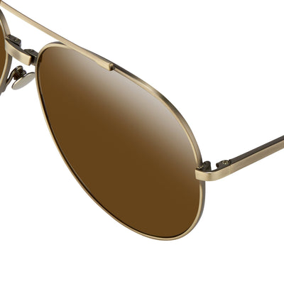 Ann Demeulemeester Sunglasses Titanium Brushed Antique Silver 925 Silver with Brown Lenses Category 3 Dark Tint AD14C3SUN - Watches & Crystals