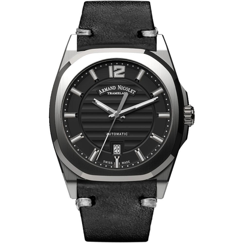 Armand Nicolet J09-3 Black Leather Stainless Steel - Watches & Crystals