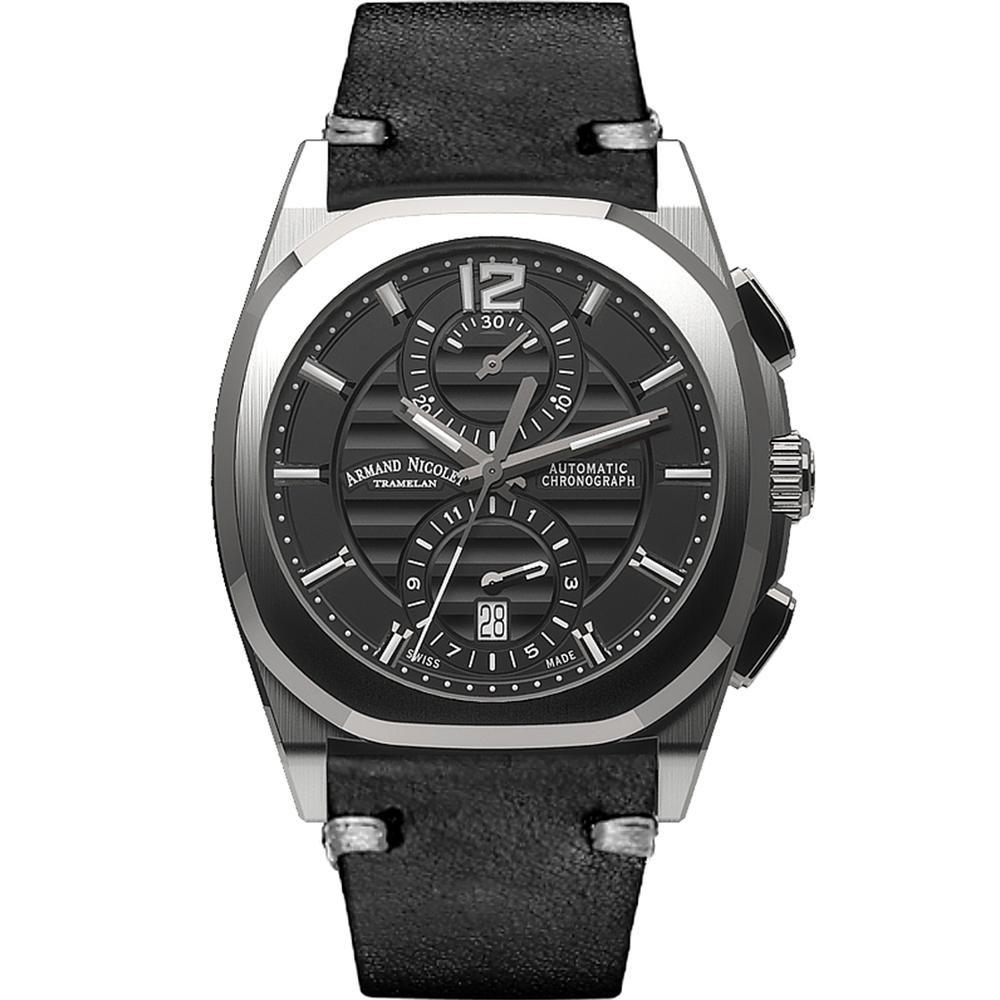 Armand Nicolet J09-3 Chronograph Black Leather - Watches & Crystals