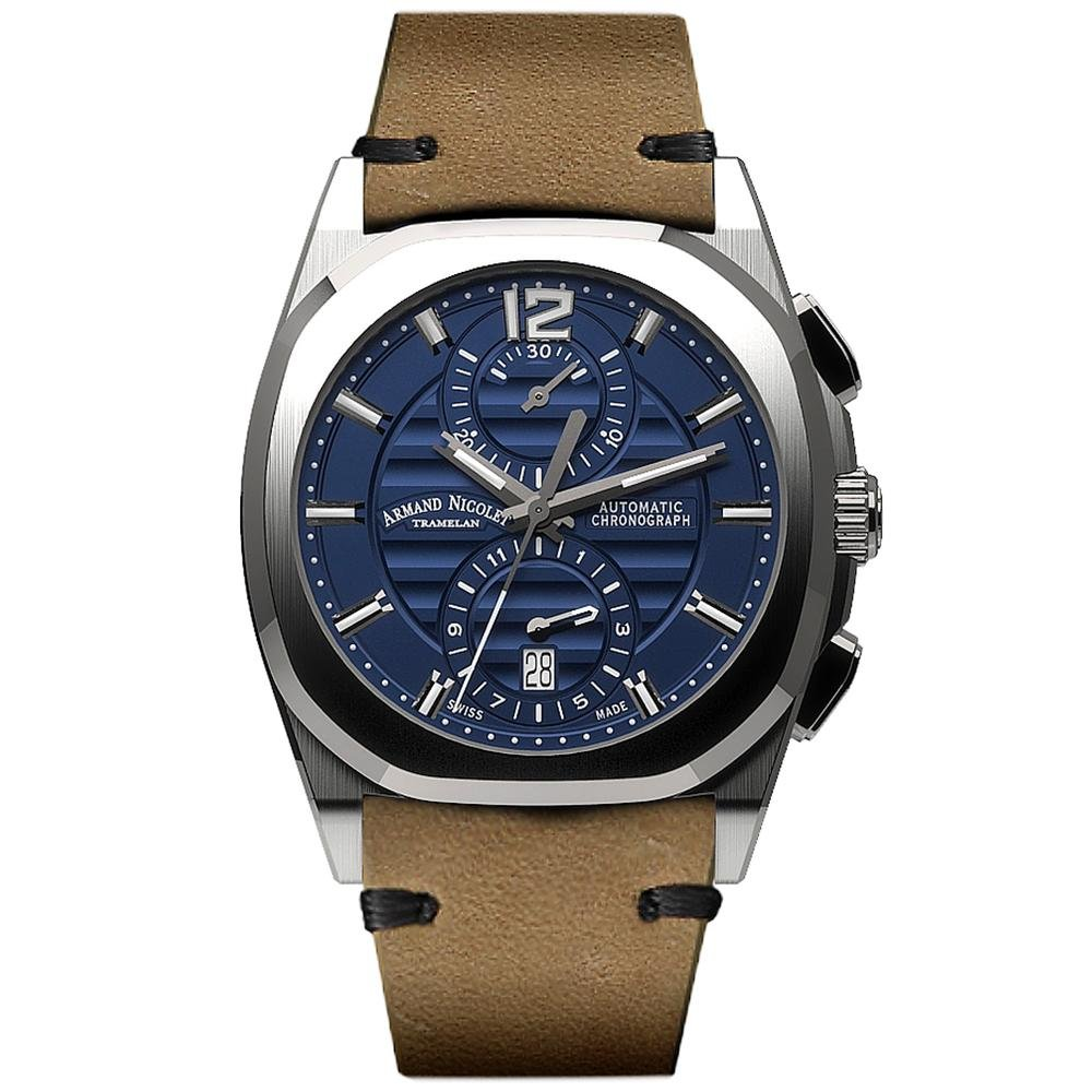 Armand Nicolet J09-3 Chronograph Blue Leather - Watches & Crystals