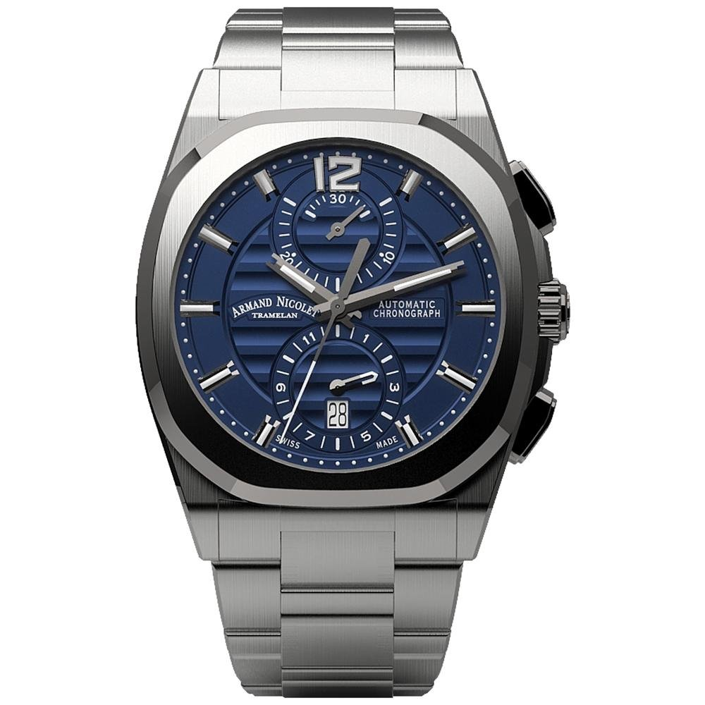 Armand Nicolet J09-3 Chronograph Blue Stainless Steel - Watches & Crystals