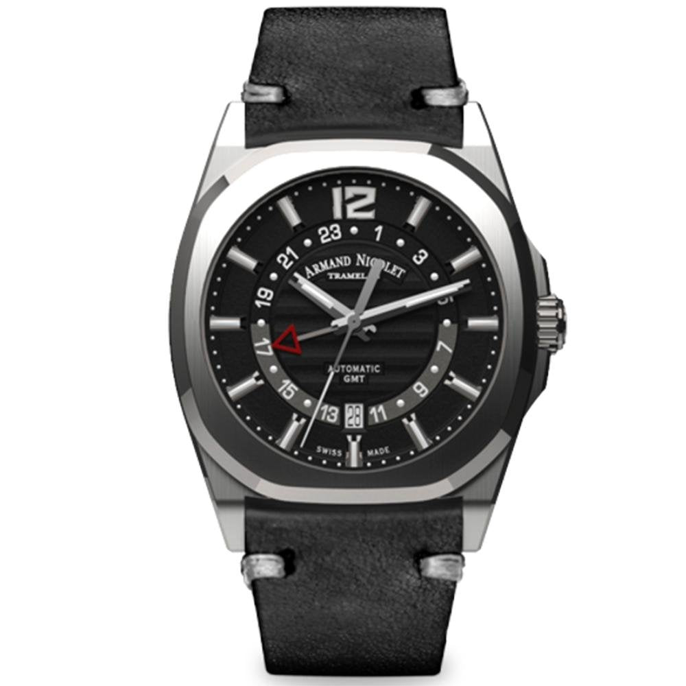 Armand Nicolet J09-3 GMT Black Leather - Watches & Crystals
