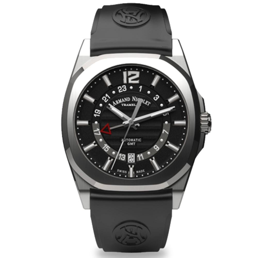 Armand Nicolet J09-3 GMT Black Rubber - Watches & Crystals