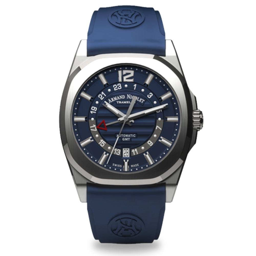Armand Nicolet J09-3 GMT Blue Rubber - Watches & Crystals