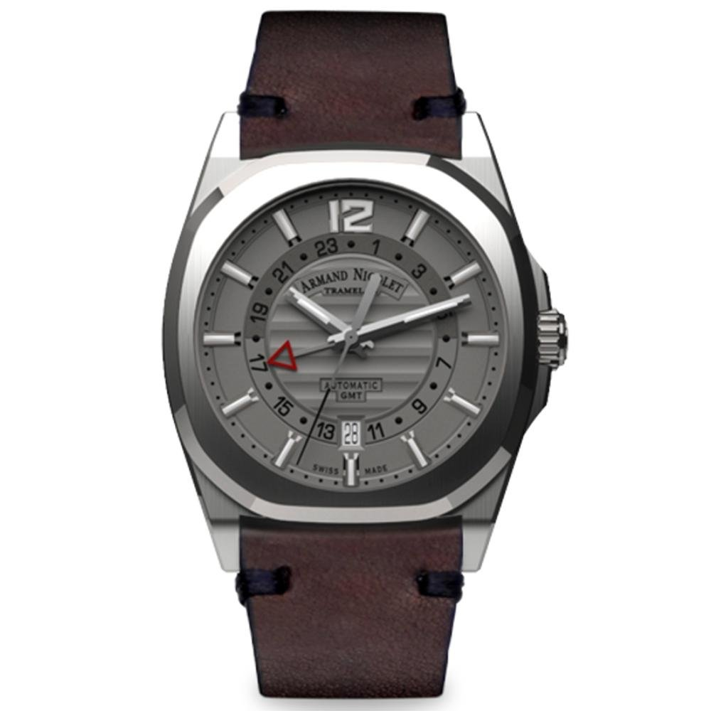 Armand Nicolet J09-3 GMT Gray Leather - Watches & Crystals