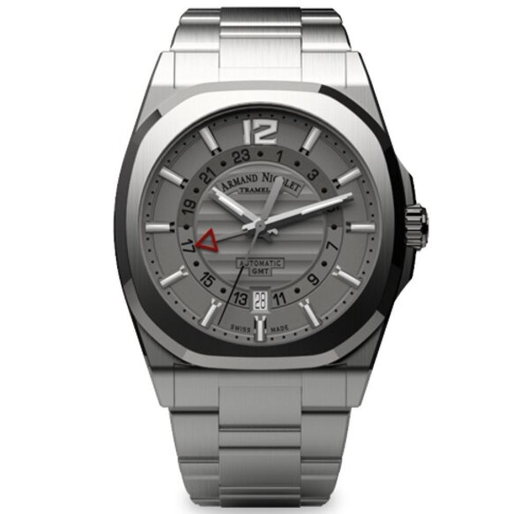 Armand Nicolet J09-3 GMT Grey Stainless Steel - Watches & Crystals