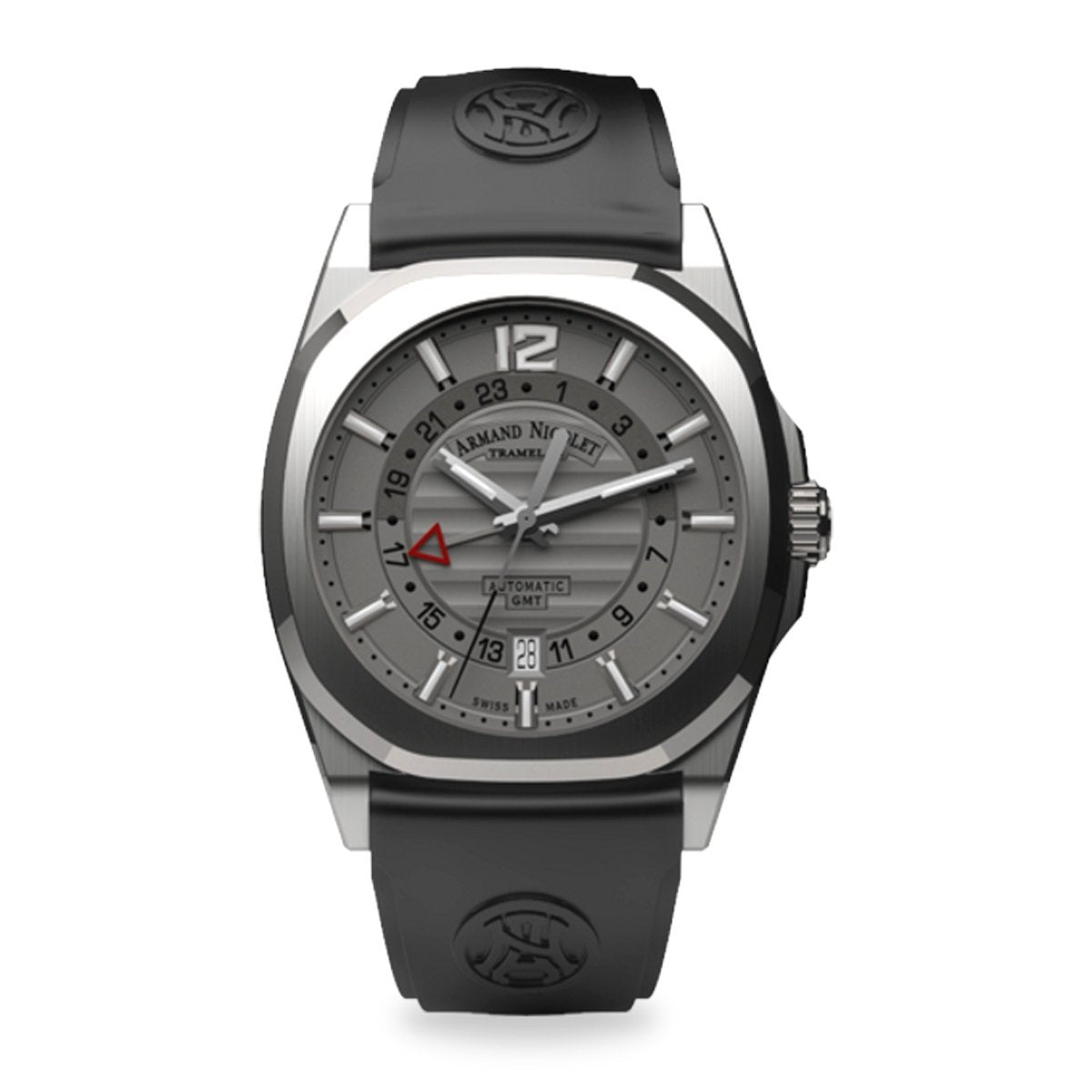Armand Nicolet J09-3 GMT Watch Black Rubber