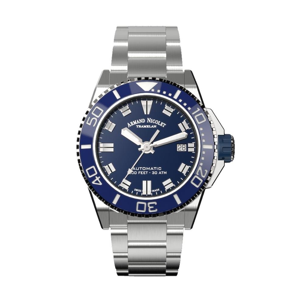 Armand Nicolet JS9-41 Blue Stainless Steel - Watches & Crystals