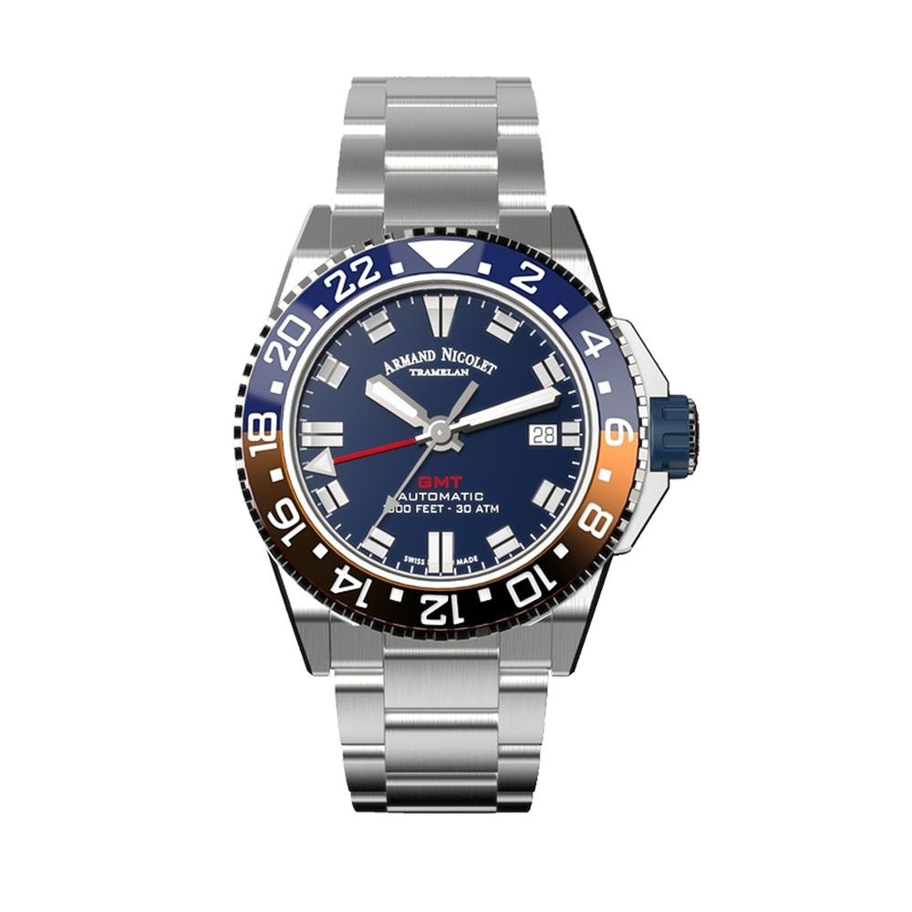 Armand Nicolet JS9-41 GMT Blue Stainless Steel - Watches & Crystals