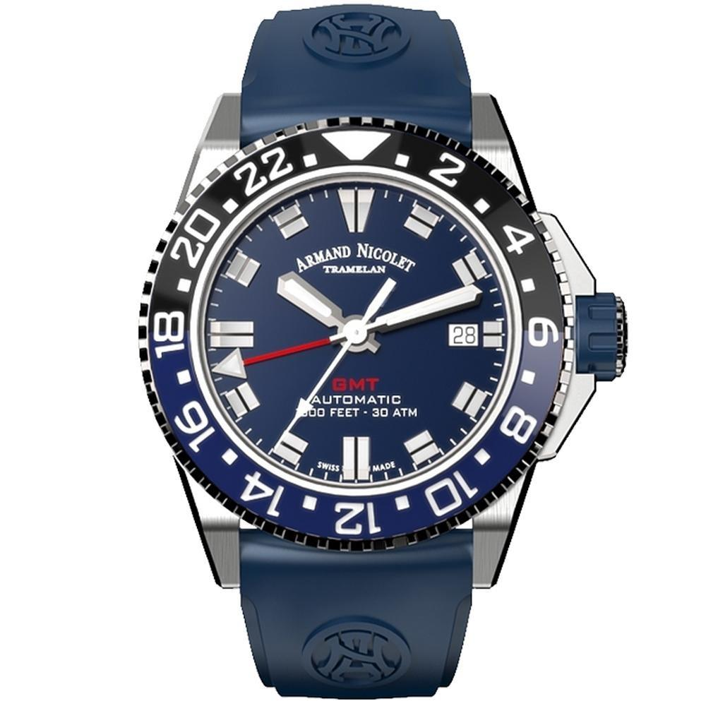 Armand Nicolet JS9-41 GMT Stainless Steel Black and Blue Ceramic Bezel - Watches & Crystals