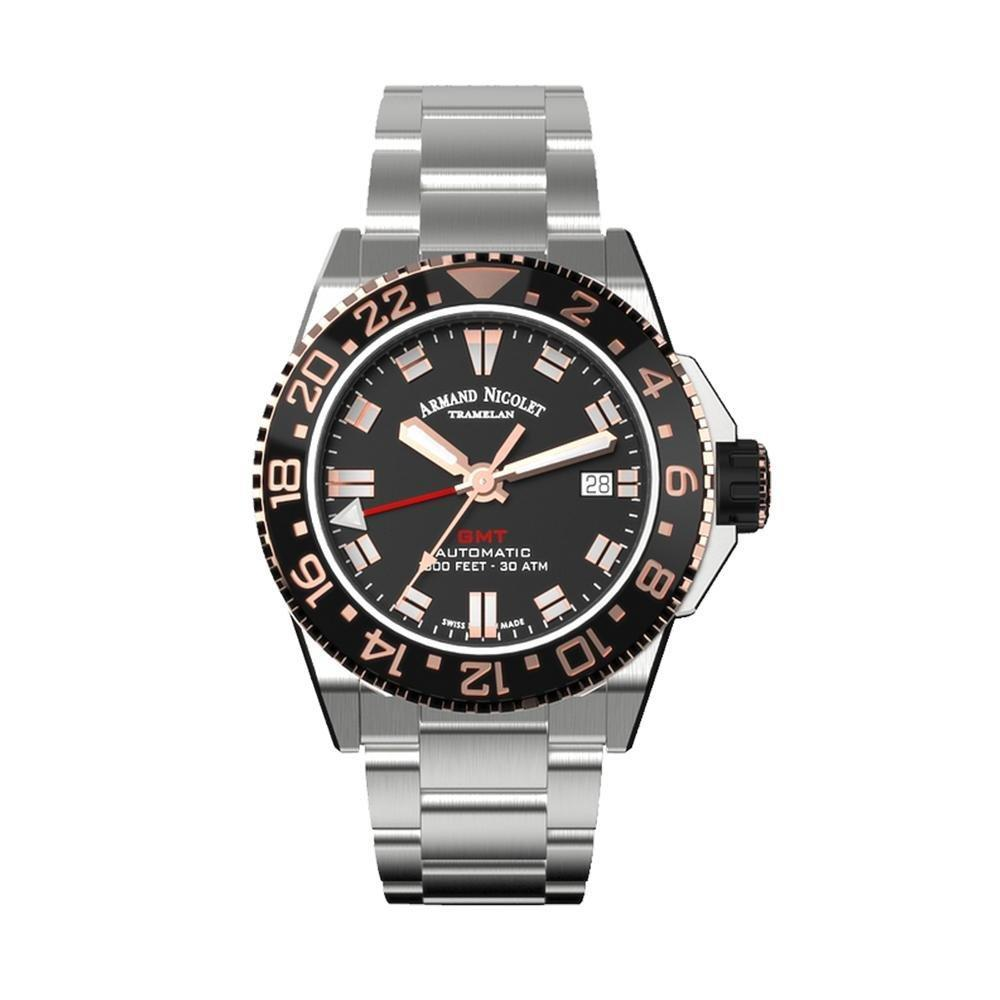 Armand Nicolet JS9-41 GMT Stainless Steel Black Bezel - Watches & Crystals