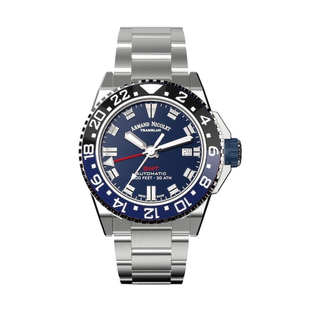 Armand Nicolet JS9-41 GMT Stainless Steel Blue Bezel - Watches & Crystals
