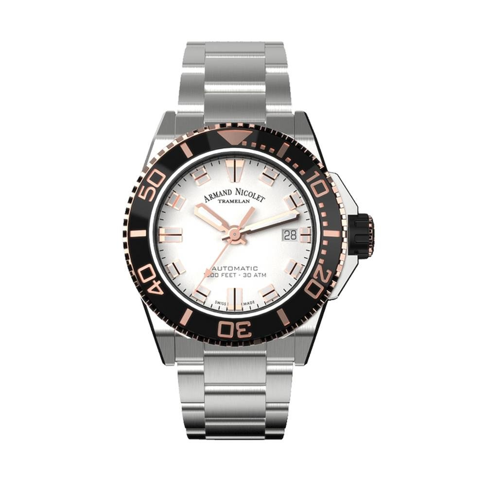 Armand Nicolet JS9-41 Silver Stainless Steel - Watches & Crystals
