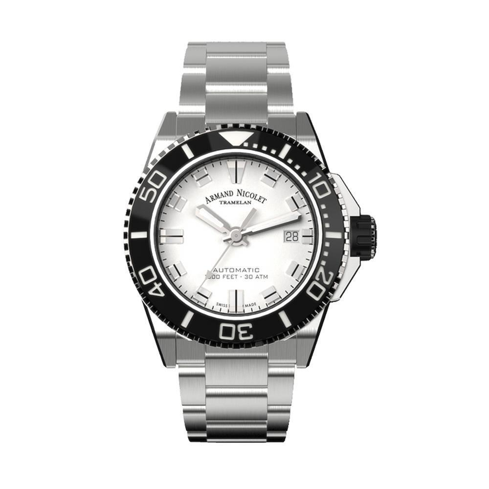 Armand Nicolet JS9-41 Silver Stainless Steel Black Bezel - Watches & Crystals
