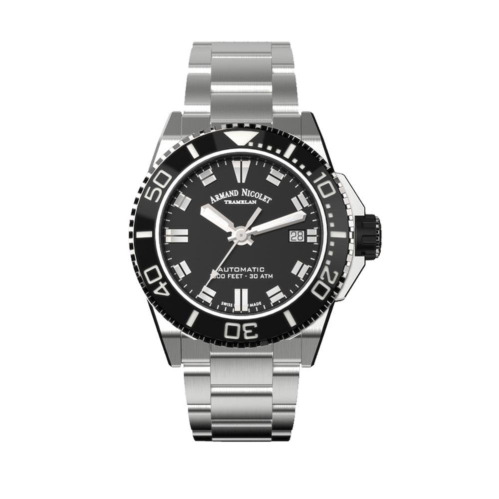 Armand Nicolet JS9-41 Stainless Steel Black Bezel - Watches & Crystals