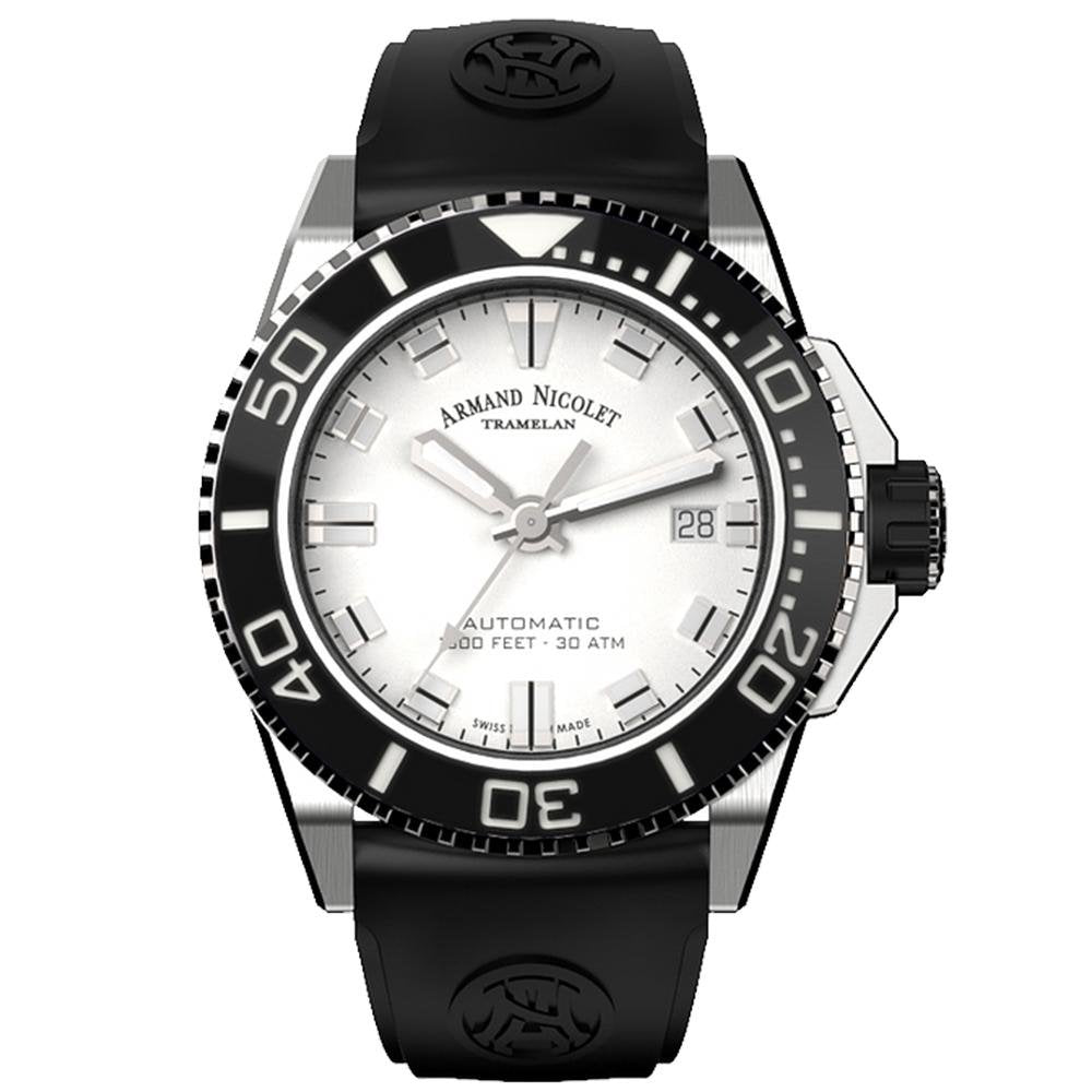 Armand Nicolet JS9-41 Stainless Steel Black Ceramic Bezel - Watches & Crystals