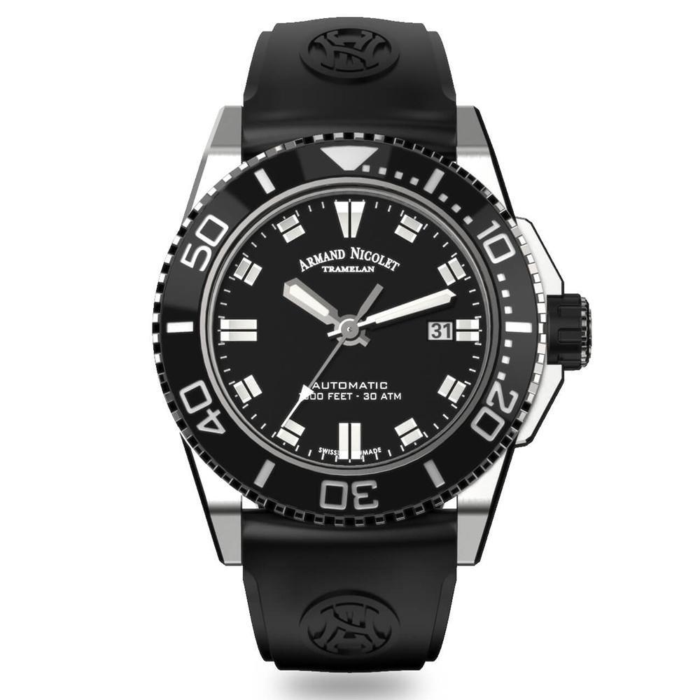 Armand Nicolet JS9-44 Black Rubber - Watches & Crystals