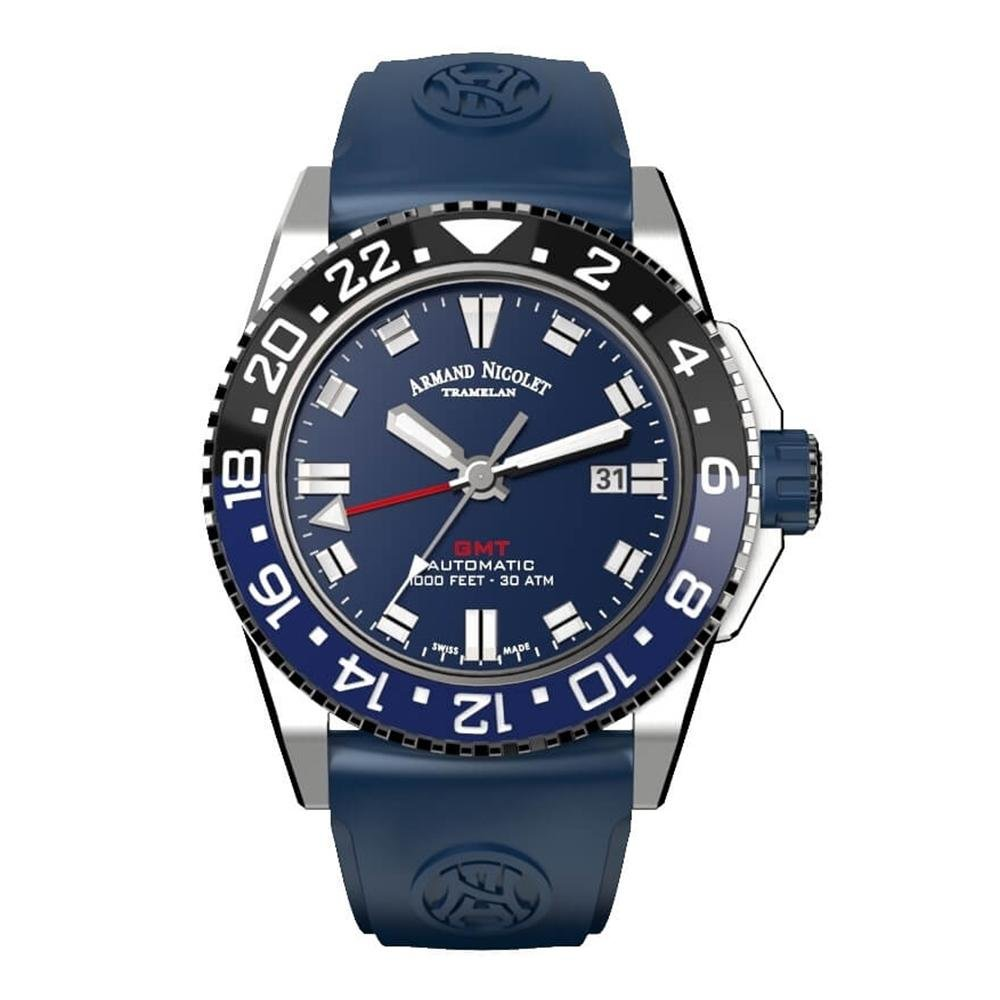 Armand Nicolet JS9-44 GMT Black and Blue Bezel - Watches & Crystals