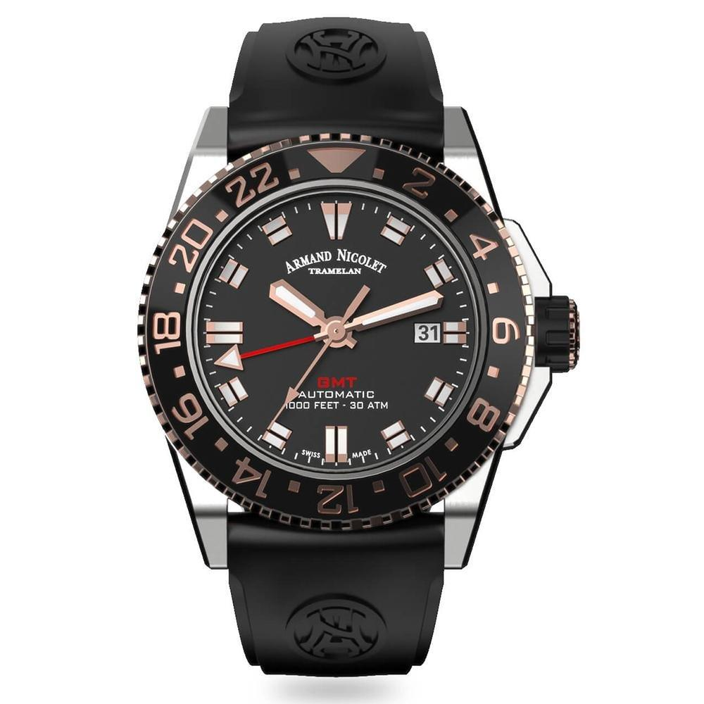 Armand Nicolet JS9-44 GMT Black Rubber - Watches & Crystals