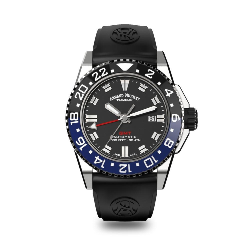 Armand Nicolet JS9-44 GMT Black Stainless Steel - Watches & Crystals