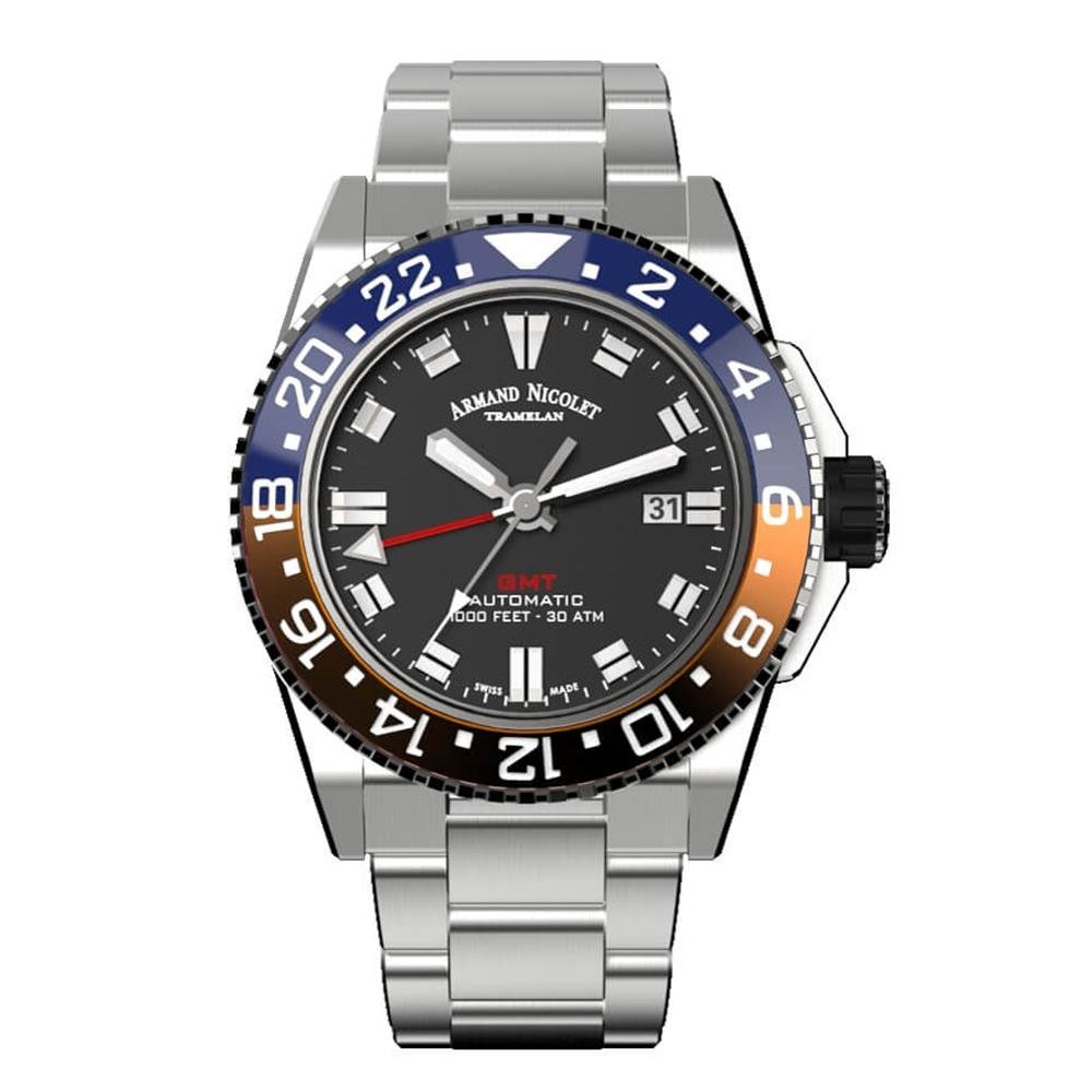Armand Nicolet JS9-44 GMT Black Stainless Steel Red and Blue Bezel - Watches & Crystals