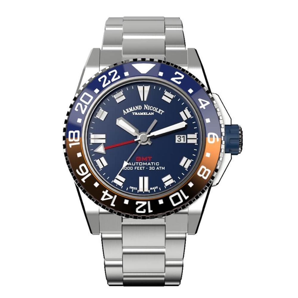 Armand Nicolet JS9-44 GMT Blue Stainless Steel - Watches & Crystals