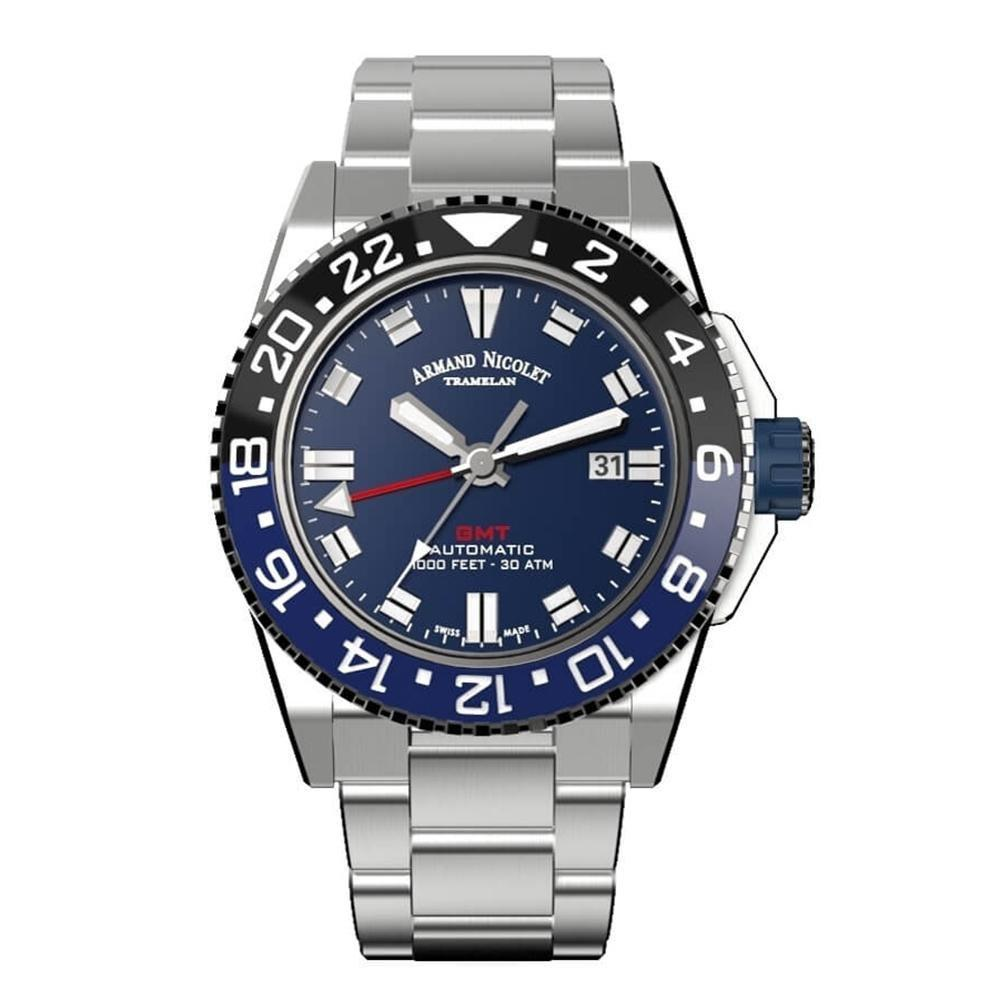 Armand Nicolet JS9-44 GMT Blue Stainless Steel Black and Blue Bezel - Watches & Crystals