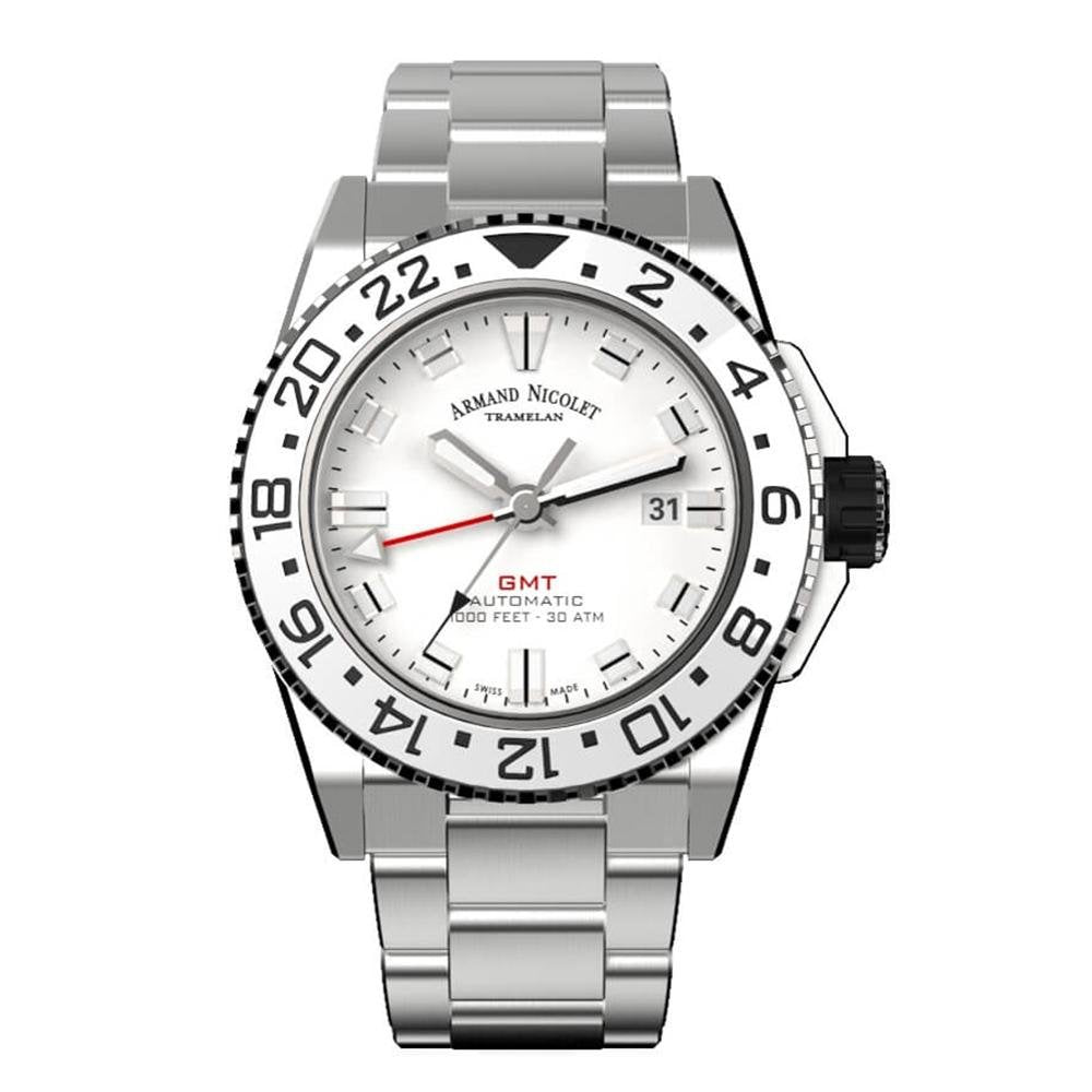 Armand Nicolet JS9-44 GMT Silver Stainless Steel - Watches & Crystals