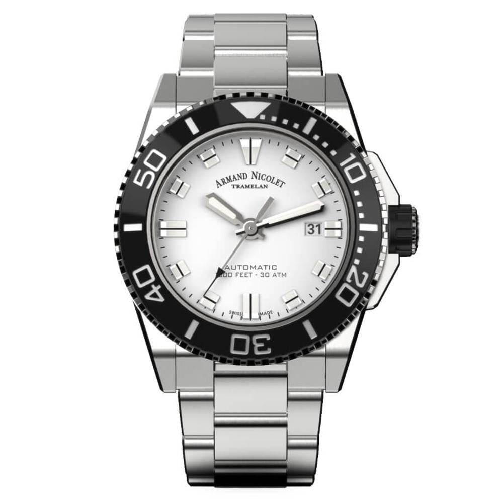 Armand Nicolet JS9-44 Silver Stainless Steel - Watches & Crystals