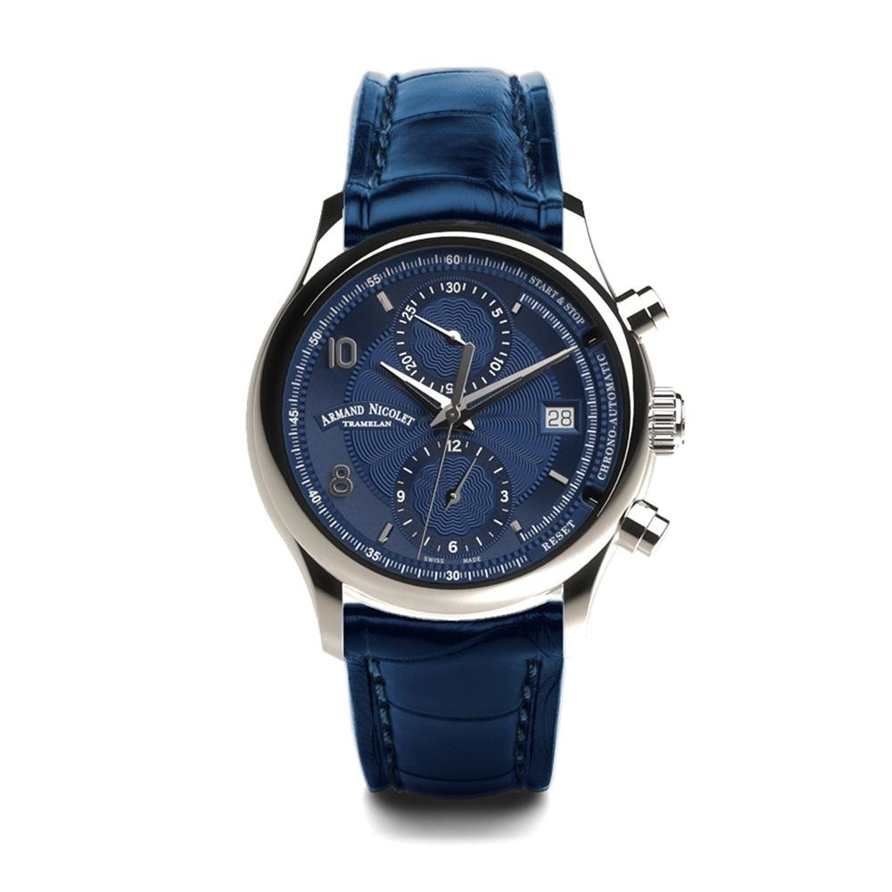 Armand Nicolet M02-4 Chronograph Blue Leather
