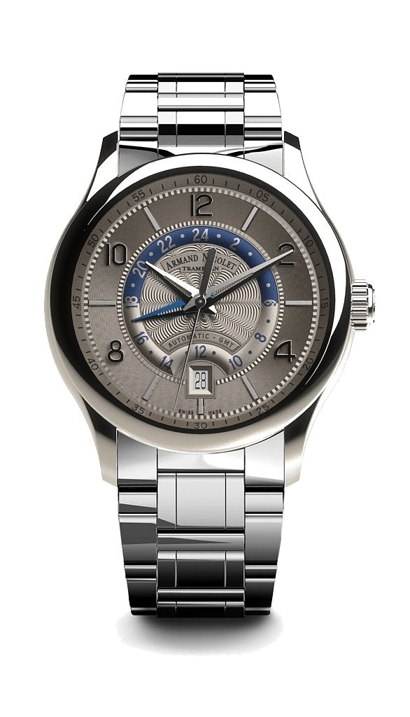 Armand Nicolet M02-4 GMT Grey Steel - Watches & Crystals
