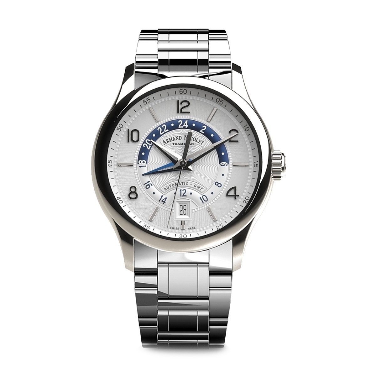 Armand Nicolet M02-4 GMT Watch Silver Steel