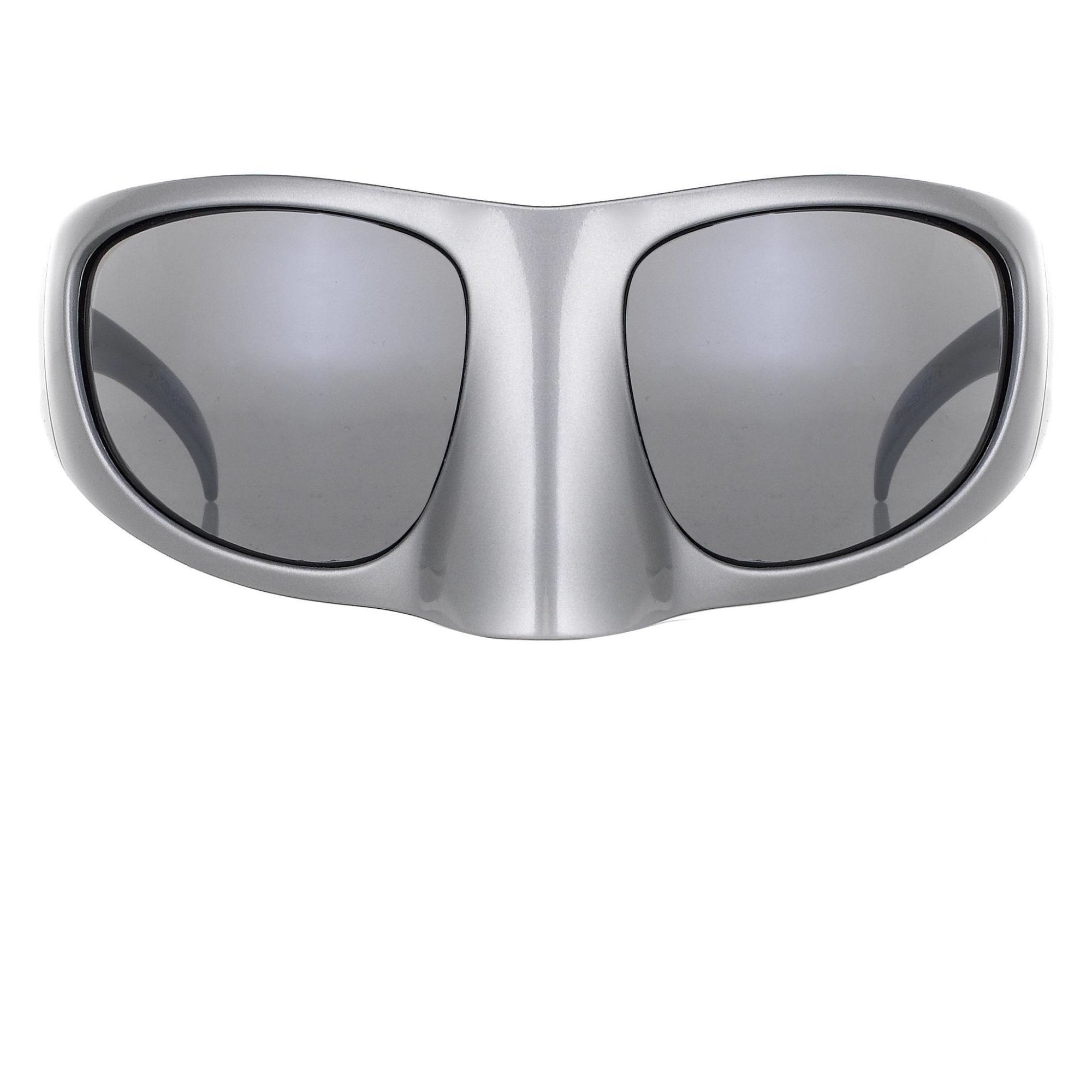 Bernhard Willhelm Silver Mask With Grey Lenses Sunglasses