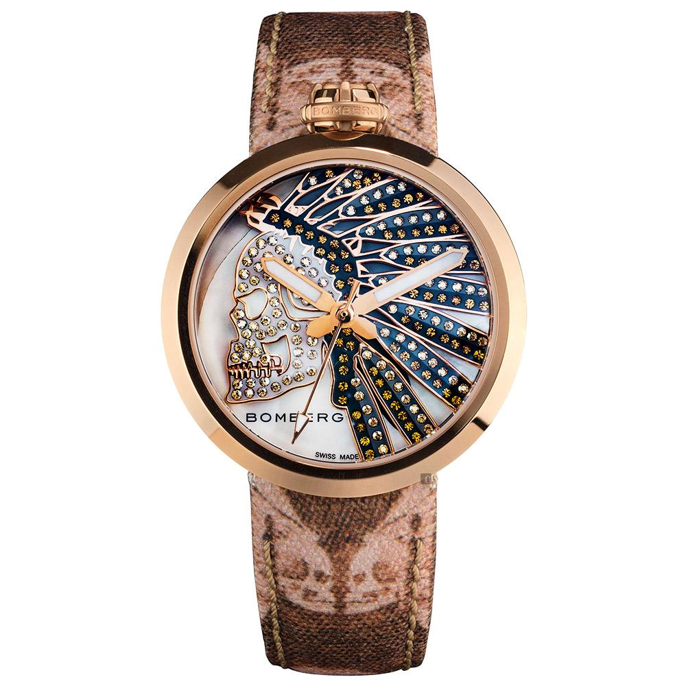 Bomberg 1968 Native Skull Rose Gold PVD - Watches & Crystals