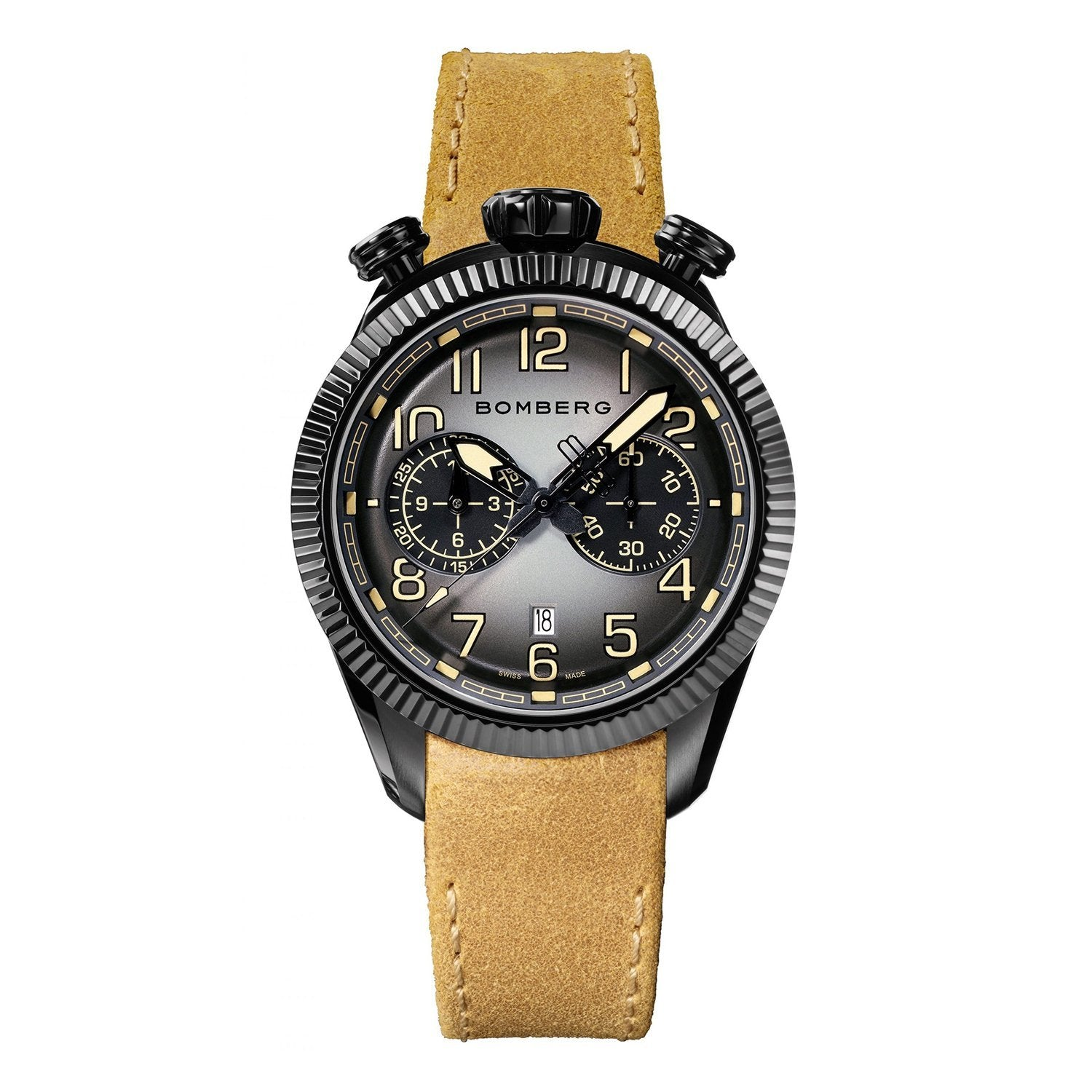 Bomberg BB-68 VINTAGE Chronograph Black PVD - Watches & Crystals